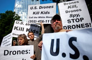Demonstrators protest against the use of drones outside the International Conference on Unmanned Aircraft Systems at the Grand Hyatt Hotel, in Atlanta, United States. Conference organizers say the gathering allows representatives from academia, industry and government to discuss expansion of unmanned aerial vehicles commonly called drones.