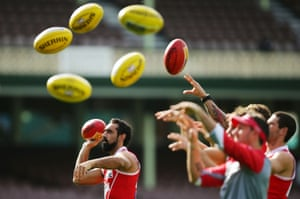Adam Goodes completes a drill during a Sydney Swans AFL training session at the Sydney Cricket Ground in Sydney, Australia.