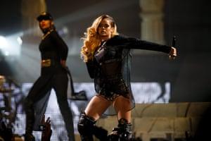 Barbadian-born singer Rihanna performs at the Lisbon Atlantic Pavillion during her 'Diamonds World Tour' in Lisbon, Portugal. Photograph: Manuel Almeida/EPA