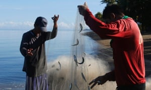 Fishermen collect their catch after fishing in Ulong Bay on Marinduque island in central Philippines.