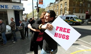 Free hugs action for happiness