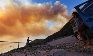 wildfire burning towards Point Mugu in Ventura County