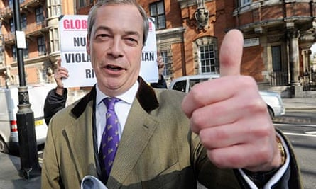Ukip leader Nigel Farage celebrates a successful night at the local elections