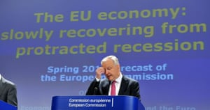 EU commissioner Economic and Monetary Affairs Olli Rehn attends a press conference on the spring European Economic Forecast on May 3, 2013 at the EU Headquarters in Brussels.