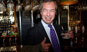 Nigel Farage pops into the Marquis of Granby in Westminster for a celebratory pint