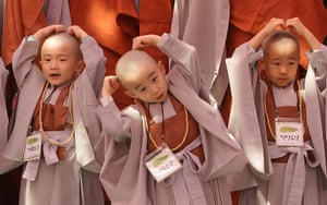 24 hours in pictures: Seoul, South Korea: Children attend Buddhist Monks ceremony