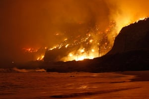 24 hours in pictures: California, USA: Wildfire raging along the California coast north of Los An