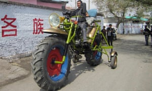 sewage plant worker, drives his homemade motorbike