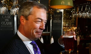 Nigel Farage celebrates election success with a pint