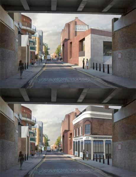 Top: the proposed extension. Bottom: how the pub could look if refurbished.