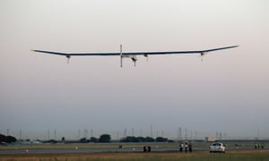 Piccard takes off in the Solar Impulse solar electric airplane at Moffett Field in Mountain View, California