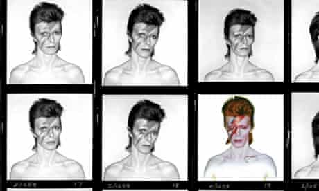 Brian Duffy's contact sheet from the shoot for David Bowie's Aladdin Sane album cover
