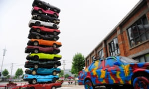 A sculpture composed of cars at the Jiangcheng No. 1 Cultural Park in Wuhan, which was originally an automobile fatory.