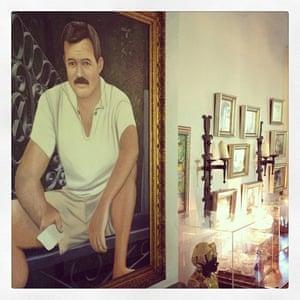 Ernest Hemingway Home, Key West. Portrait of Hemingway in his 30s.