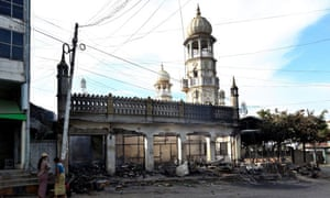 A mosque in Lashio destroyed in the attacks.