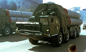 S-300 anti-aircraft missiles on a transport vehicle in Kiev, Ukraine, in 2001.