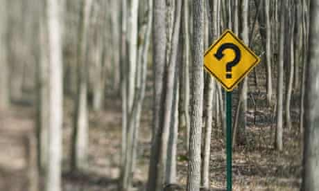 Yellow caution sign with question mark