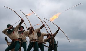 Purbrook Bowmen fire a volley of flaming arrows from Southsea Castle as part of a day of events to mark the opening of the Mary Rose Museum in Portsmouth, England. The wreck of the Mary Rose was rediscovered in 1971 and salvaged in 1982. The Mary Rose Museum in Portsmouth's Historic Dockyard is the new home to warship, and some of the 19,000 artifacts that sank with her.