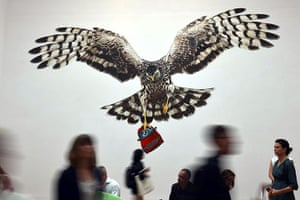 Venice Biennale: visitors look at Jeremy Deller's installation