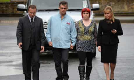 Paul and Coral Jones arrive at crown court for Mark Bridger's trial for the murder of daughter April