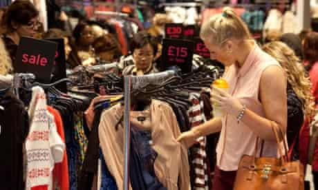 A bargain hunter at the Westfield shopping centre in east London