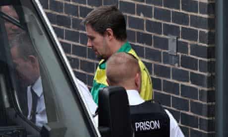 Mark Bridger being taken from Mold crown court