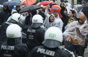 Riot police confront demonstrators near the headquarters of the European Central Bank (ECB) on May 31, 2013 in Frankfurt am Main, Germany.