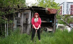 Sara Jane Trebar on her threatened allotment at Farm Terrace in Watford