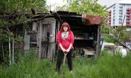 Sara Jane Trebar on her threatened allotment at Farm Terrace in Watford