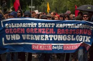 Occupy Movement rally in Frankfurt, Germany