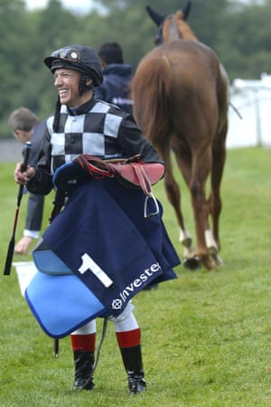 Frankie Dettori after finishing last in his first race since his suspension at Epsom this afternoon.