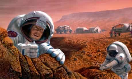 Artist's impression of geologists on Mars