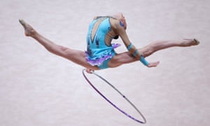 Lucille Chalopin of France performs with the hoop during the 29th Rhythmic Gymnastics European Championship in Vienna.