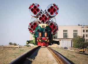 20 Photos: a Soyuz spacecraft is transported to a launch pad at the Baikonur cosmodrome, Kazakhstan