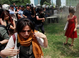 20 Photos: Turkish riot police use tear gas during a protest in central Istanbul