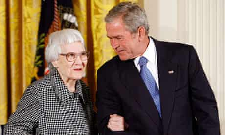 To Kill a Mockingbird author Harper Lee receives the Presidential Medal of Freedom from George Bush