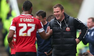 Barnsley celebrate after Chris O'Grady's goal.