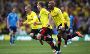 Watford celebrate their equaliser.