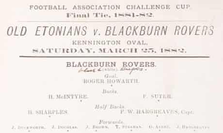 FA Cup final programme from 1882