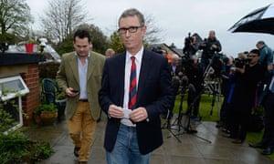 Nigel Evans leaves after a news conference in Pendleton