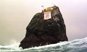 Greenpeace activists occupying Rockall