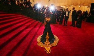 """Singer Beyonce makes her glamorous arrival at the Metropolitan Museum of Art Costume Institute Benefit celebrating the opening of """"PUNK: Chaos to Couture"""" in New York."""