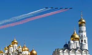 Military jets fly over an Orthodox Christian church during a rehearsal for the Victory Day parade in Moscow, Russia.