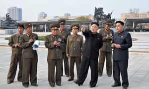 Kim Jong-Un points at things. The North Korean leader inspects the Victorious Fatherland Liberation War Museum, which is now under construction in Pyongyang. North Korea has taken a major step back from a planned missile test even as Pyongyang and Seoul exchanged fresh threats of swift military retaliation to any provocation.