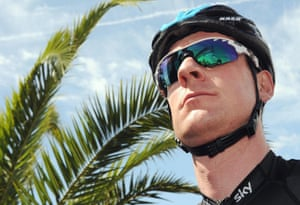 British cyclist Bradley Wiggins gets his head into gear before the start of the fourth stage of the 96th Giro d'Italia cycling race from Policastro Bussentino to Serra San Bruno, Italy.