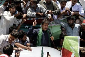 Imran Khan, Pakistan's cricket star-turned-politician addresses an election rally in Karachi, Pakistan ahead of parliamentary elections on May 11. The elections are the first transition between democratically elected governments in a country that has experienced three military coups and constant political instability since its creation in 1947.