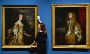 Anna Reynolds, curator for the Royal Collection, views two portraits of Francis Stuart, Duchess of Richmond, dressed in female and male outfits, at the Queen's Gallery, in Buckingham Palace, London. The portraits form part of the 'In Fine Style: The Art of Tudor and Stuart Fashion' exhibition which will open on May 10.