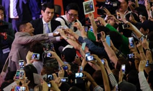 Actor Will Smith is greeted by his fans during the premiere event of his new film 'After Earth' in Seoul, South Korea.