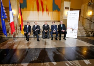 Bank of France Governor Christian Noyer, France's Finance Minister Pierre Moscovici, Germany's Finance Minister Wolfgang Schaeuble, German central bank (Bundesbank) President Jens Weidmann and state secretary at the German Finance Ministry Ernst Burgbacher (L-R) pose for a group picture.