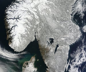 Satellite Eye on Earth: Snow covered southern Scandinavia